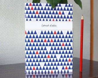Notebook design small TRIANGLES blue, white and Red