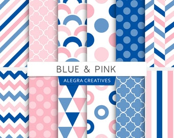 Blue & Pink digital paper, polka dot, chevron, stripes, scales, geometric patterns, scrapbook papers (Instant Download)