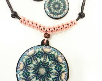 Necklace and earrings Set of mandalas, wooden with resin, handmade, different models, OM, yoga, yogis, mandala, Dreamcatcher