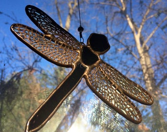 Stained Glass Dragonfly, Small Dragonfly, Suncatcher, Sun Catcher, Stained Glass Hanging