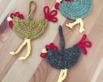 Rooster ornaments crocheted set of 3, New Winter colors, Hen ornaments crocheted set of 3, Chicken ornaments crocheted set of 3.