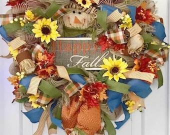 Fall Door Wreath, Scarecrow Door Wreath, Fall Wreath For Front Door, Scarecrow Wreath, Fall Front Door Wreath, Autumn Front Door Wreath