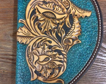 Hand Tooled Turquoise Pistol Case