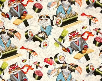 Rockin Rolls Sushi Chef Cats Indochine Collection by Alexander Henry Fabrics