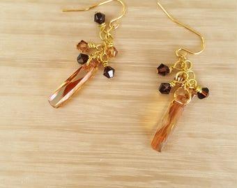 Swarovski Crystal Copper Pendant & Bicone Dangle Earrings, Fall Wedding, Fall Earrings, Crystal Earrings, Gold Plated Crystal Copper Pendant