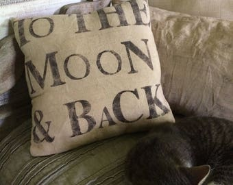 To the Moon & Back - hand stenciled pillow - canvas