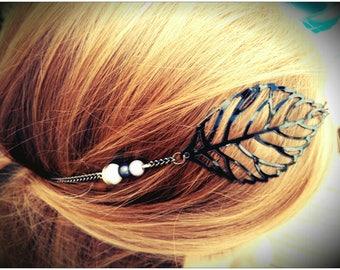 silver filigree chain black flower headband