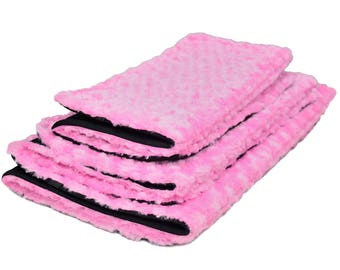 Fold up Dog Mat or Cat Mat, Pink Minky Pet Bed Size Small to Large Dog Crate Bed, Pink Dog Bed, Pink Cat Bed, folding pet mat, Free Shipping