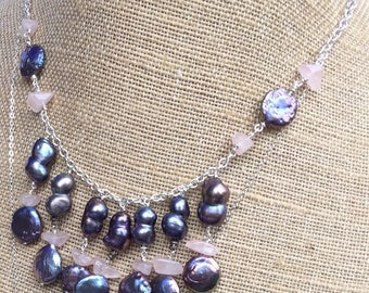 Peacock Pearls with Rose Quartz on Sterling Silver