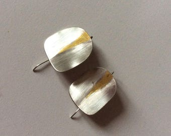 Sterling Silver earrings with pure gold design. Keum Boo silver and gold earrings. Mixed metal earrings