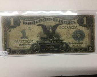 1899 black eagle  paper money one dollar note