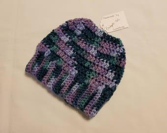 PONYTAIL HAT - Messy Bun Hat - Ponytail Hole Hat - Ponytail Beanie - Crochet Beanie - Crochet Hat - Knit Hat - Purple Hat - Ready to Ship