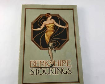 "Original  1920's ""Coles Phillips art"" Berkshire Stocking box with a pair of 1920's Fishnet stockings with seam"
