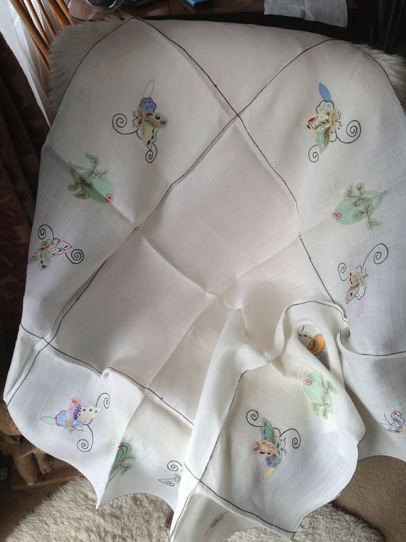40 ins square oriental butterflies applique and embroidered fine linen tablecloth. Vintage 30's