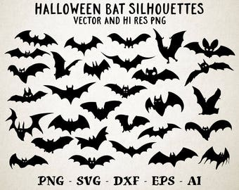 Halloween SVG, Bats SVG, Bat SVG, Halloween Cut files, Bat Silhouette Vector svg dxf eps png Silhouette Cricut Transfer, Cutting Machine