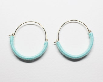E0237/Anti-Tarnished  Gold Plating Over Brass+Cotton Thread/Color Cotton Wrapped Earring Hoops/30mm/ 2pcs