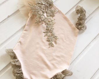 cod655 Newborn photo prop, sitter size outfit, romper, embroidery, photo prop outfit, baby girl photography