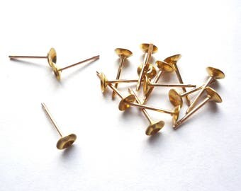 100 (50 pairs) Gold plated brass earring post with domed 4mm pad