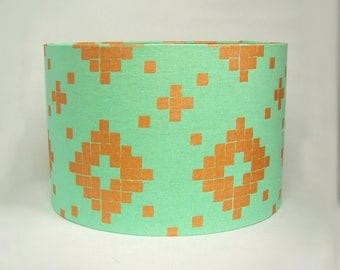 Turquoise & Bronze Geometric Drum Lampshade/ Ceiling Lamp Shade/ Table Lamp (Large)