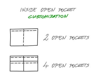 Inside Open Pockets Upgrade for your tote Backpack, Unique Customizaton, Two inside pockets, Four inside poskets,