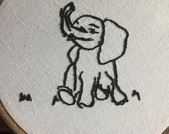 Hand Embroidered Elephant