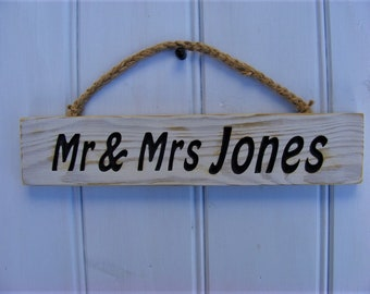 Personalised Wedding Sign/Shabby Chic Carved Wooden Mr & Mrs Sign/Reclaimed Wood