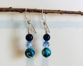 Swarovski crystal and bead sterling silver earrings Gift for her Handmade Dangle earrings Blue earrings
