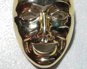 Vintage Comedy Mask Plastic Gold in Color