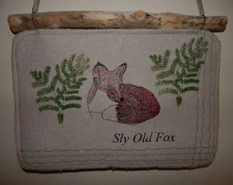 Driftwood Hanger - Screen printed Fox and Bracken