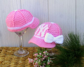 Girls Baby Pink BASEBALL Hat, Kids Ball Cap, Baby girl hat, New York YANKEES inspired (Handmade by me and not affiliated with the MLB)