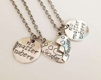 set 2 no matter where necklace - Mother Daughter necklace - Love necklace - Heart necklace - Birthday gift