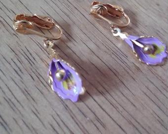 Purple Flower Dangle Clip Earrings