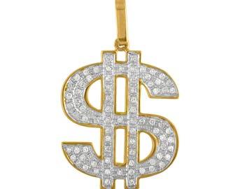 10K Gold Dollar Sign Pendant with Diamonds