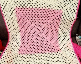 Pink and White Granny Square Toddler Blanket