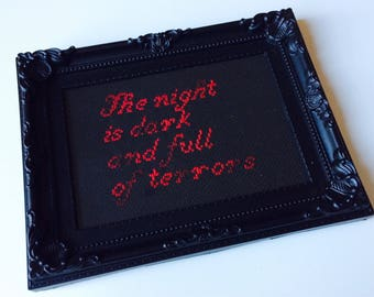 Game Of Thrones | Lord Of Light | Red Woman | Lady Melisandre | Winter Is Coming | The Night Is Dark | Framed | Cross Stitch | Completed |