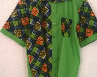 shirt sleeve short two-tone handmade