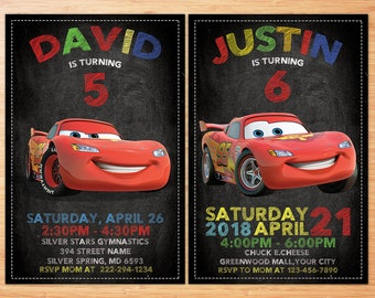 Cars Invitation , Cars Birthday Invitation , Cars 3 Invitation , Cars Party, Cars 3 Party , Cars Birthday Invite , McQueen Invitation