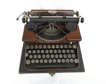 Royal Portable Typewriter, Fully Working, S/N P 147226, Made in US for British Market 1929, Wood Effect Metal, Case Glass Keys FREE SHIPPING