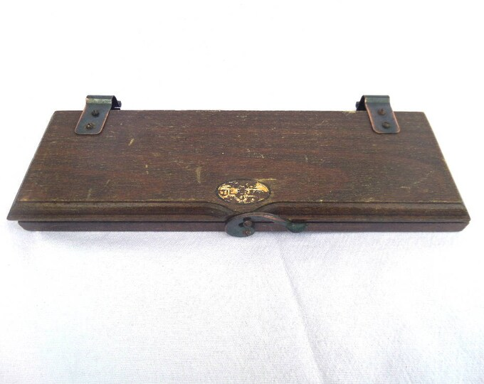 """English Tie Press, Solid Oak, Made in England by Acme, Circa 1920, Bow Tie Press, Vice Grip, Good Vintage Condition, 9.75"""" x 4"""""""