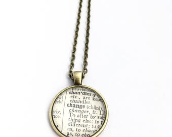 CHANGE Vintage Dictionary Word Pendant