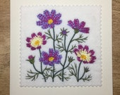 Comos flower card, Machine Embroidered Card, Floral card, Birthday Card, Get well card, Handmade Card, Mothers Day card, Gifts for friends