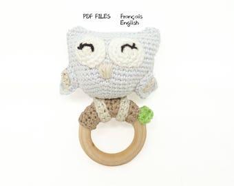 Patron  modèle Hochet Hibou / jouet bébé hochet bébé/  pattern owl rammelaar / owl rattle / crocheted rattle