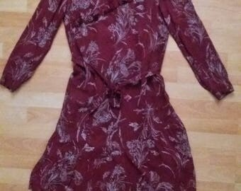 Vintage homemade dress 1965, Bordeaux red color with pattern