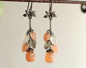 Tassel Earrings Drop Moonstone Peach/orange Oxidized sterling silver earrings handmade