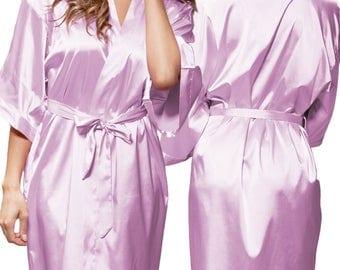 Lavender Satin Kimono Robe - Glitter Monogram Personalization - Bridal Party Bridesmaid Robe