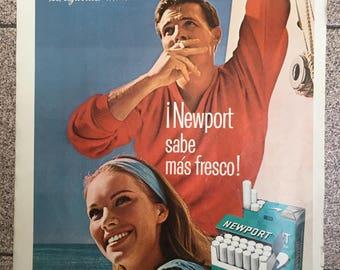 """Cigarettes """"Newport"""" Vintage Ad (1966)"""