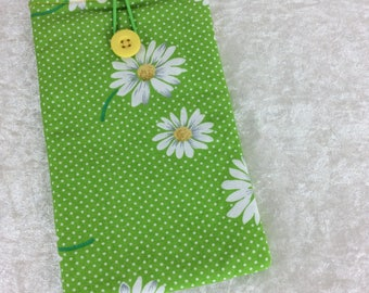 Daisy Large Phone Glasses Case fabric elastic button Handmade in England