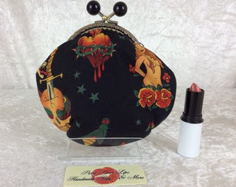 Tattoo Amy frame coin purse wallet Alexander Henry design fabric hand stitched handmade in England