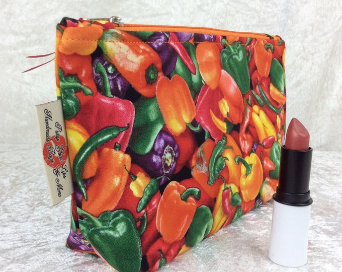 Chilli Peppers Zip Case Bag Pouch fabric Handmade in England