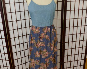 1990s Denim and Floral Dress